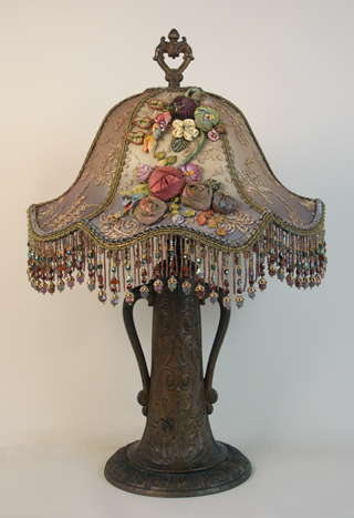Lampshade with metallic lace