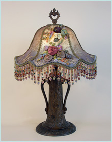 Victorian lampshades with ribbon roses