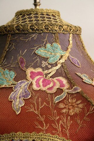 Detail of antique chinese peony embroidery