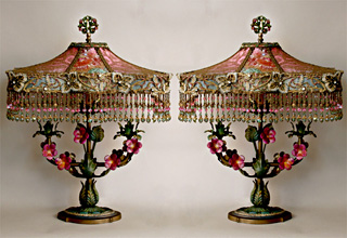 Pair of Shabby Tole Pink Lamps