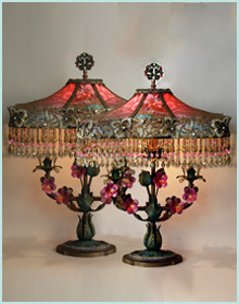 pink victorian french lampshades