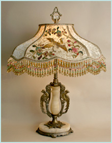 Chinoiserie Inspired Vintage Lamp and Beaded Shade