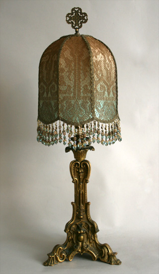 antique gold candlestick lamp with custom shade