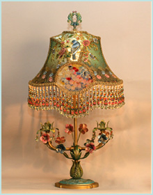 antique lamp base with victoian lampshade