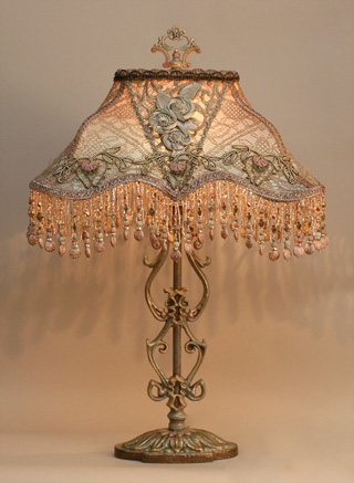 Edwardian Style Lampshade on Antique Lamp Base