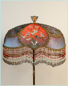 Chinoiserie Butterfly Lampshade made with Antique Fabrics