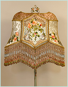 antique lamp base with chinese peony shade