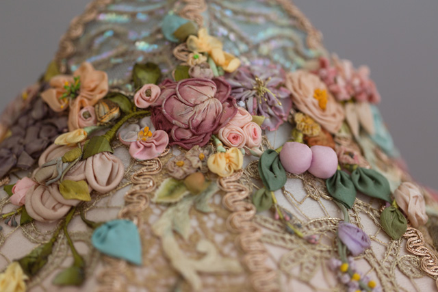 antique silk ribbon work flowers
