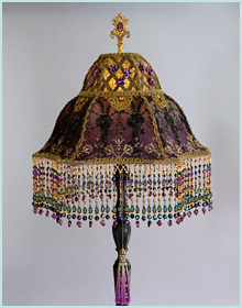 French Violet silk victorian lampshade