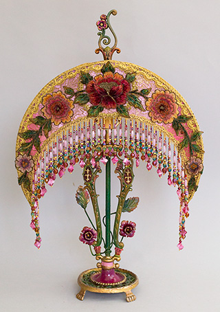 -Art Nouveau Moon shaaped Victorian Lampshade