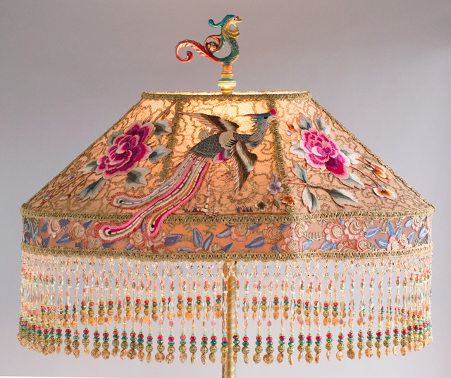 Chinoiserie Lampshade with a Phoenix made with Antique Textiles