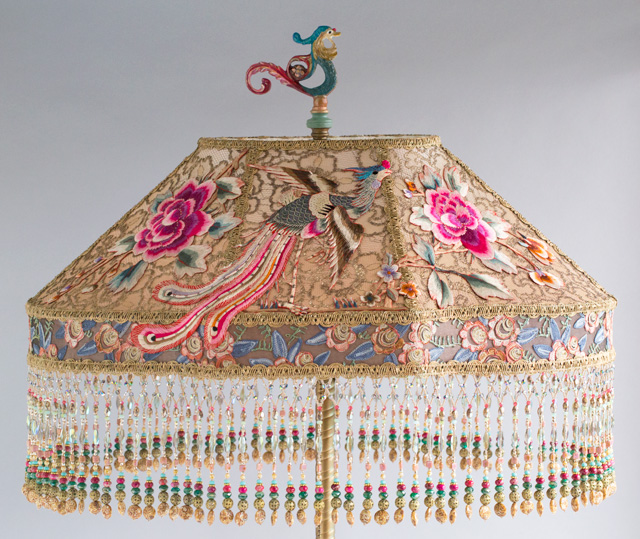 Victorian Lampshade with Phoenix Peony  Embroidery