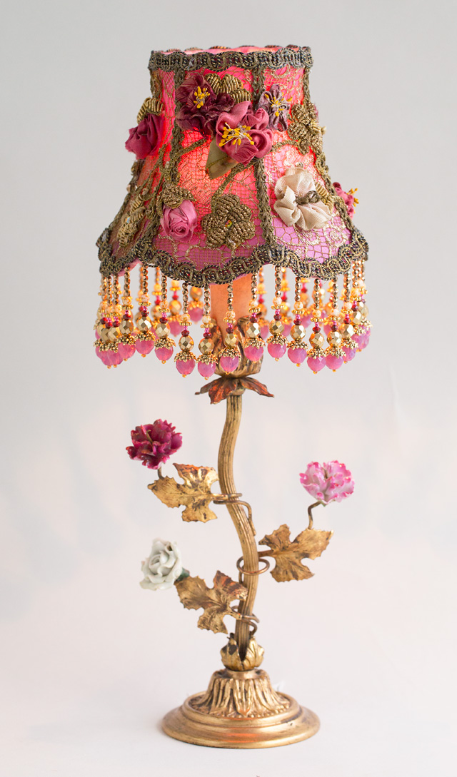 victorian lampshade with antique silk ribbon roses