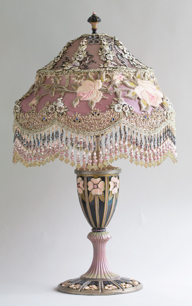 Victorian Lampshade with Roses and antique lace